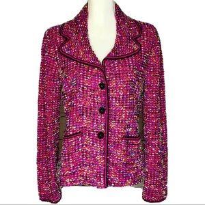 Escada Tweed Wool Blend Multicolor Blazer Jacket